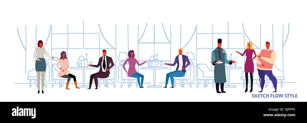 people visitors sitting at restaurant tables waiters showing hospitality and serving guests modern cafe interior design sketch flow style horizontal - Stock Vector