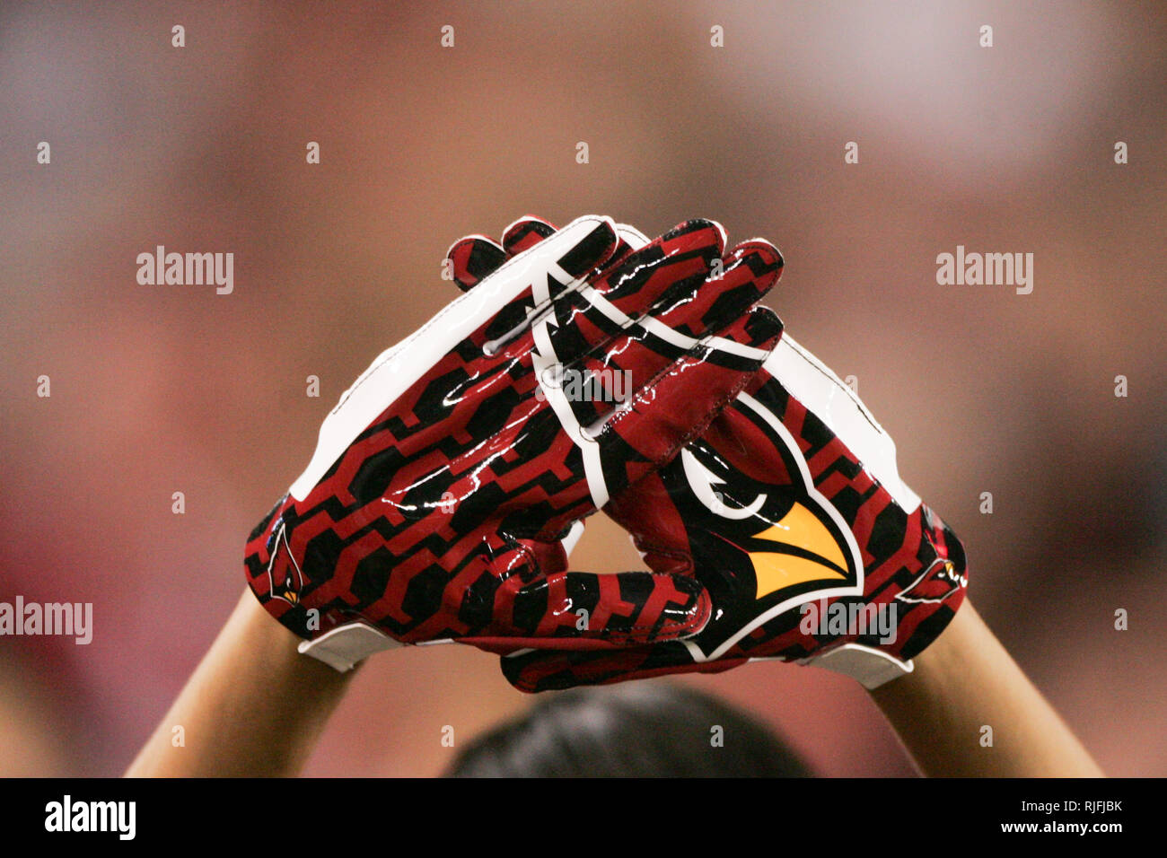 A Football Fan Holds His Hands Together While Wearing Nfl Wide Receiver Gloves With The Arizona Cardinals Logo Displayed Stock Photo Alamy