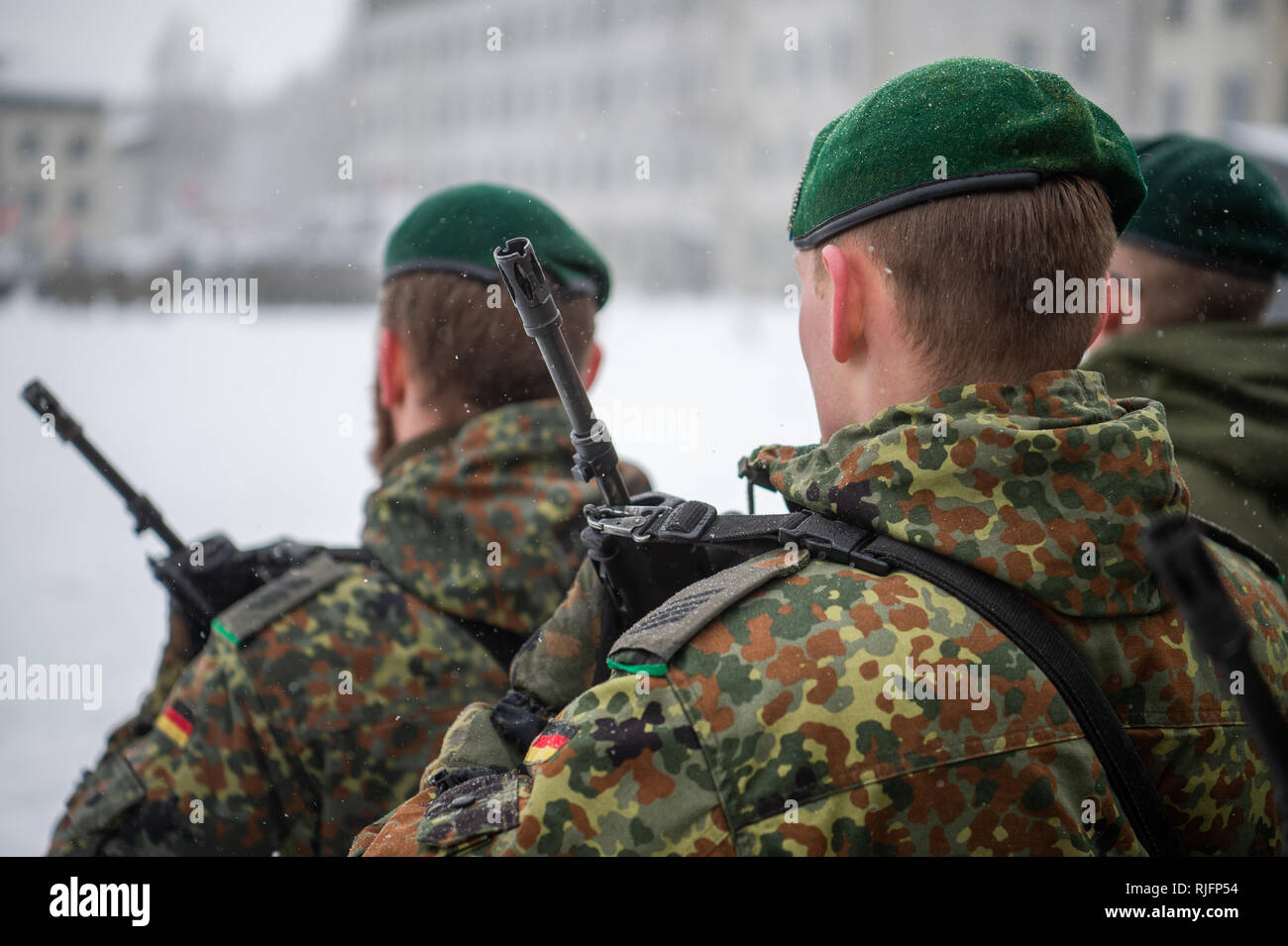 Rukla, Lithuania. 04th Feb, 2019. Soldiers of the German Armed Forces took part in a handover appeal at the military base in Rukla, Lithuania. Credit: Arne Immanuel Bänsch/dpa/Alamy Live News - Stock Image