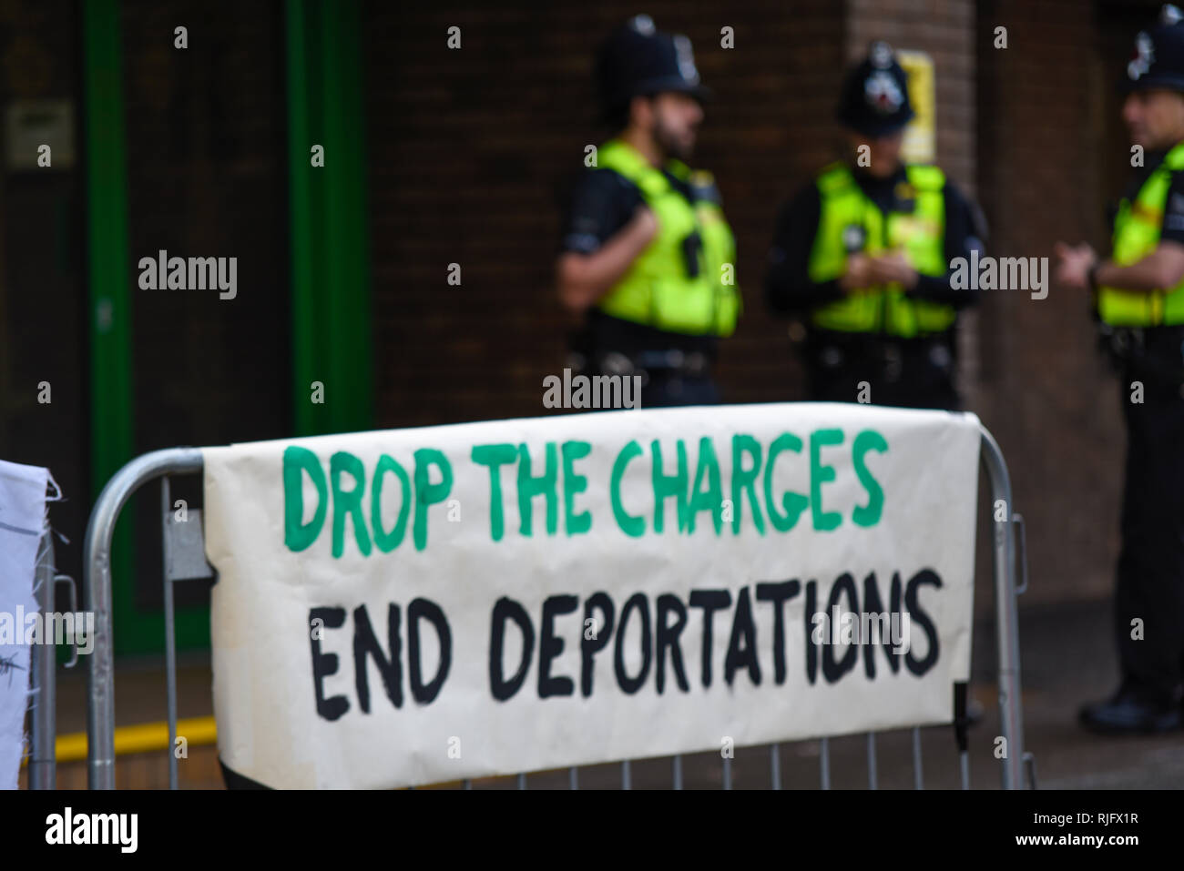 Sentencing of 15 protesters who blocked a deportation flight and disrupted operations at Stansted Airport on 28 March 2017 is taking place at Chelmsford Crown Court. Protesters gathered outside the court demonstrating against their convictions - Stock Image
