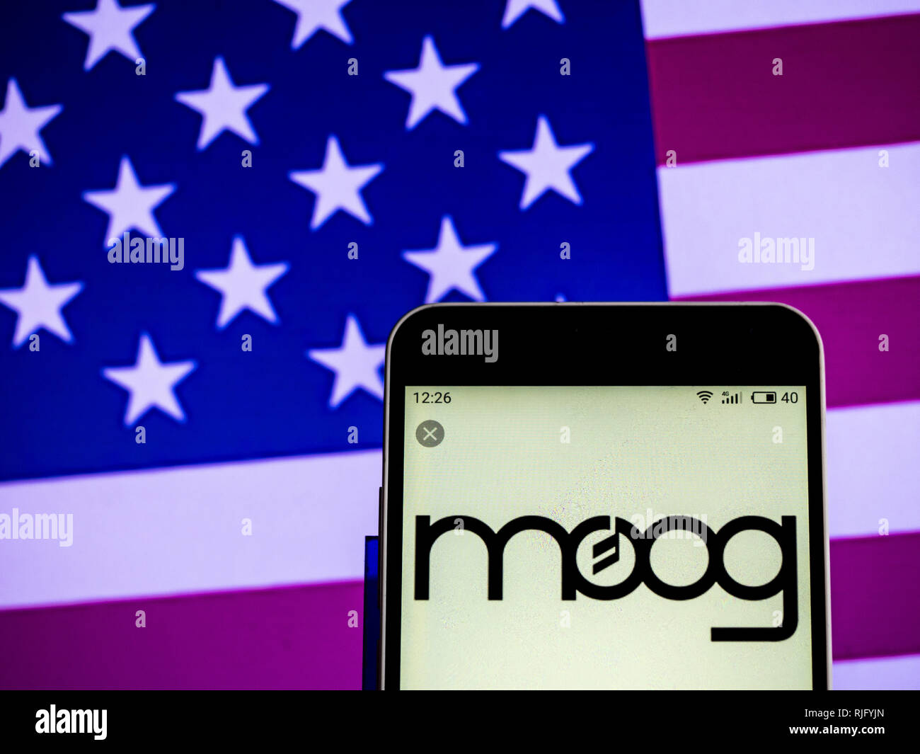 Ukraine. 6th Feb, 2019. Moog Music Musical instrument manufacturing company logo seen displayed on a smart phone. Credit: Igor Golovniov/SOPA Images/ZUMA Wire/Alamy Live News - Stock Image
