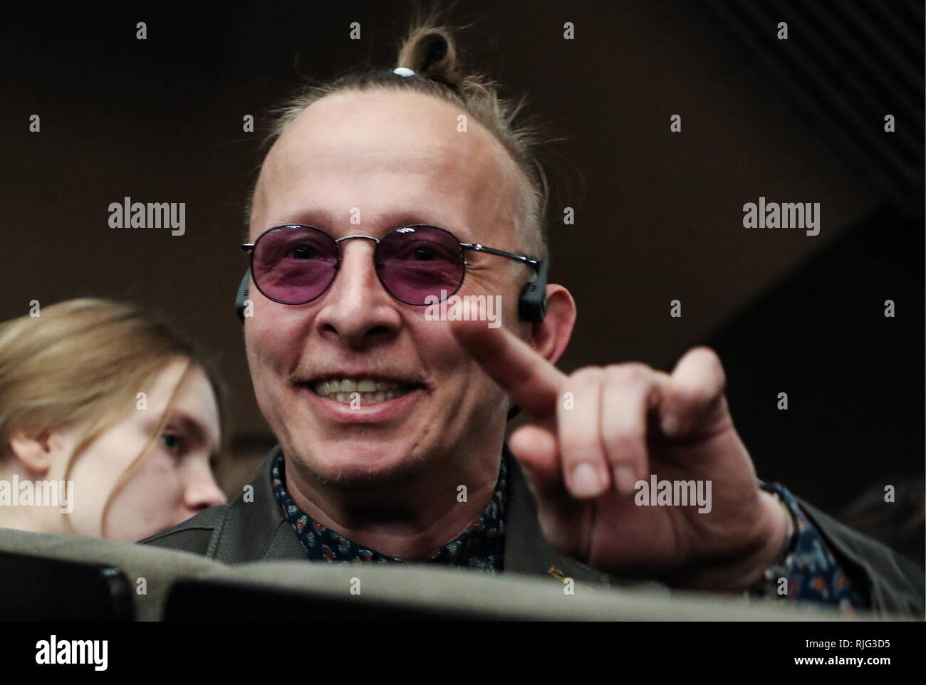 MOSCOW, RUSSIA - FEBRUARY 6, 2019: Actor, director and writer Ivan Okhlobystin during a pre-premiere performance of the Dyuma production staged by Mikhail Yefremov at Sovremennik Theatre. Vyacheslav Prokofyev/TASS - Stock Image