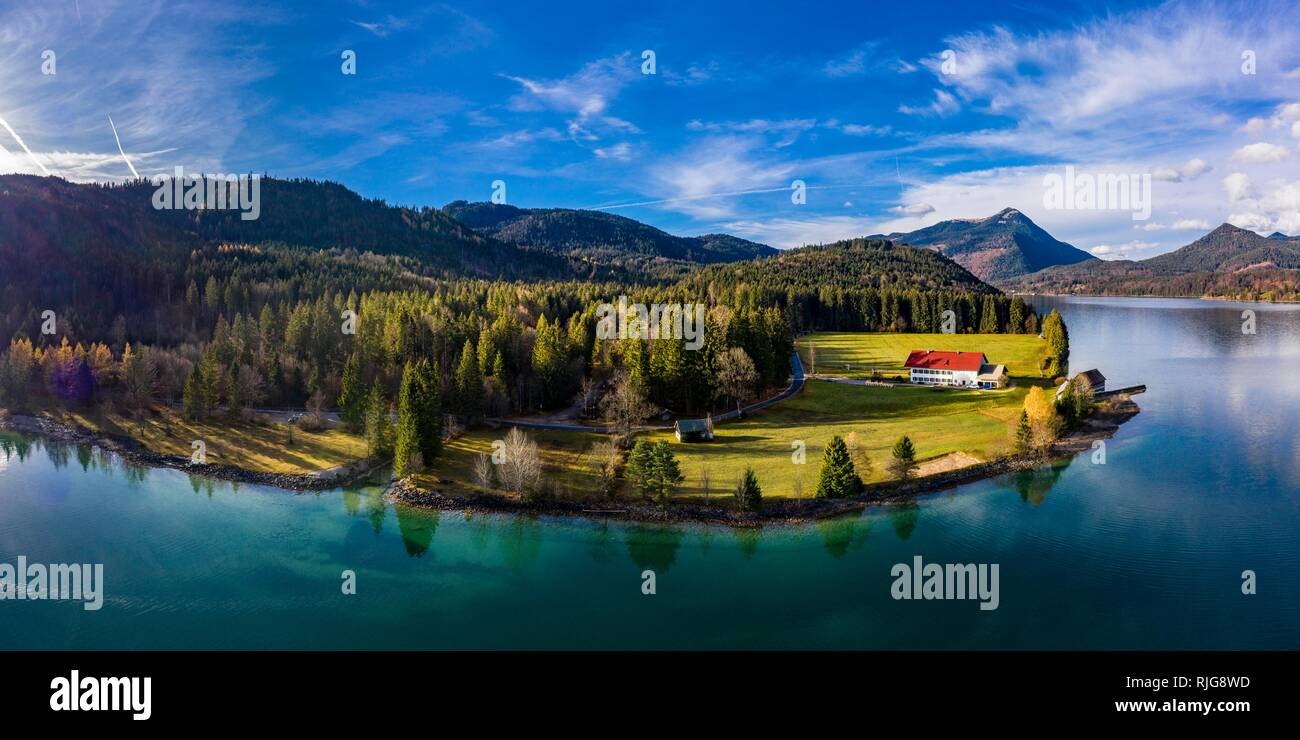 Drone shot, Walchensee surrounded by foothills of the Alps, Upper Bavaria, Bavaria, Germany - Stock Image