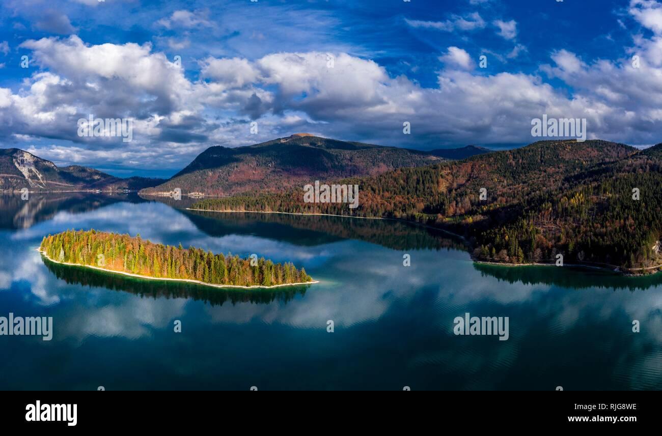 Drone shot, Sassau Island in Walchensee, Alpine foothills, Upper Bavaria, Bavaria, Germany Stock Photo