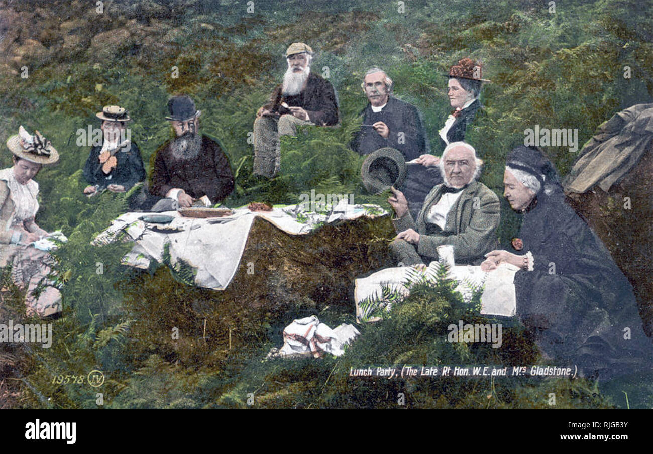 WILLIAM GLADSTONE (1809-1898) British Liberal politician and statesman at right with his wife Catherine and a picnic party about 1870 Stock Photo