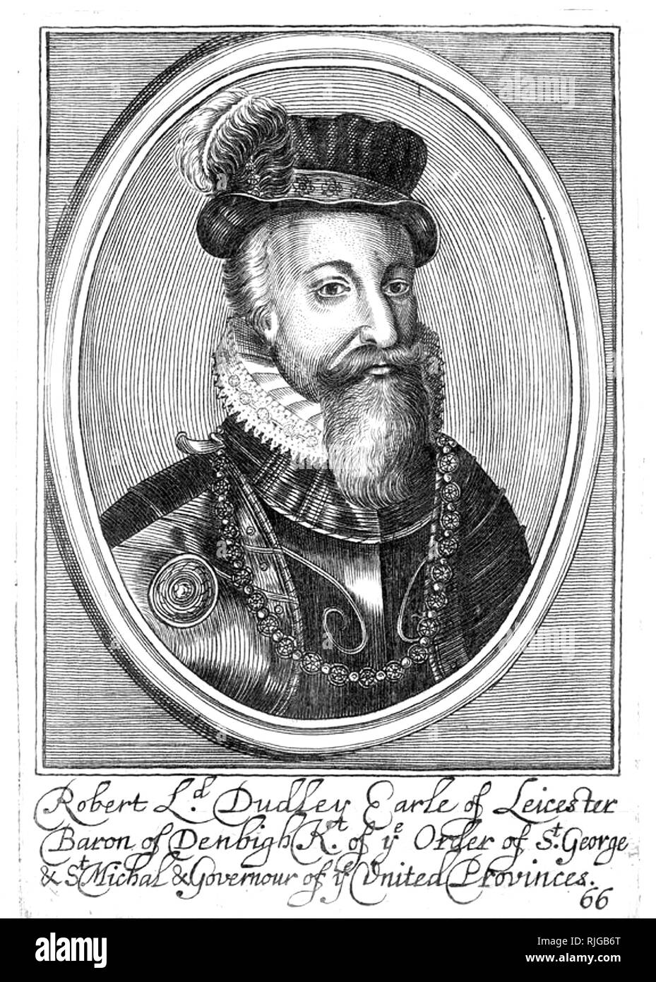 ROBERT DUDLEY, 1st Earl of Leicester (1532-1588) Elizabethan statesman - Stock Image