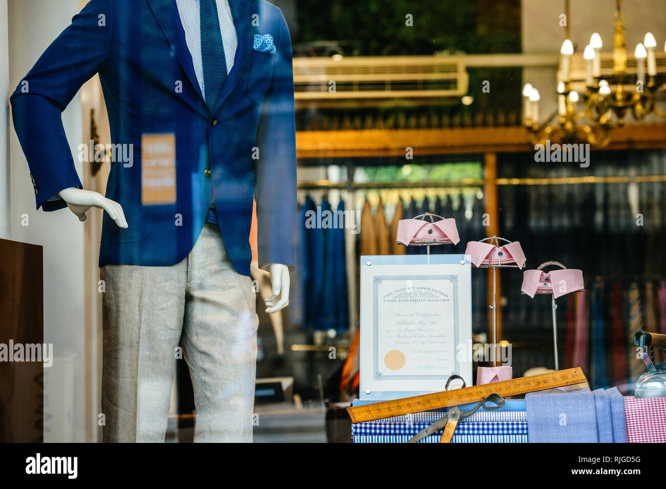 PARIS, FRANCe - MAY 21, 2016: Hilditch and Key luxury store facade with certificate from the The London Associations of West End Shirt Makers and beautiful male suit fashion accessories Paris - Stock Image