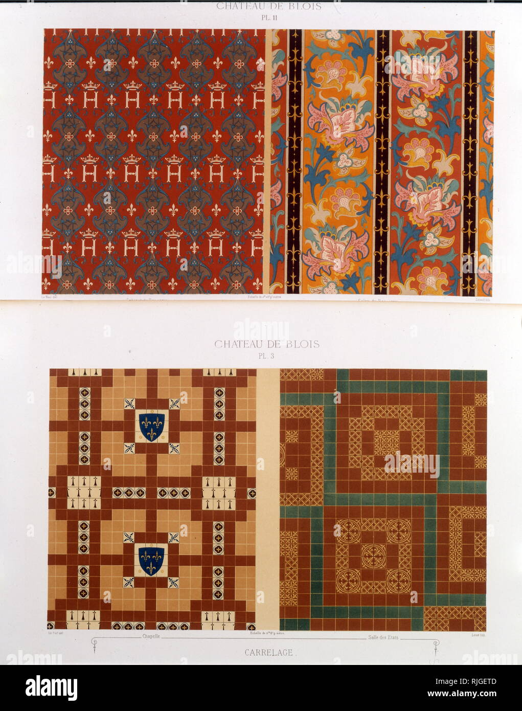 Page of designs for tiles used in the Chateau of Blois, France. The Chateau de Blois, a Renaissance chateau was once occupied by King Louis XII, - Stock Image