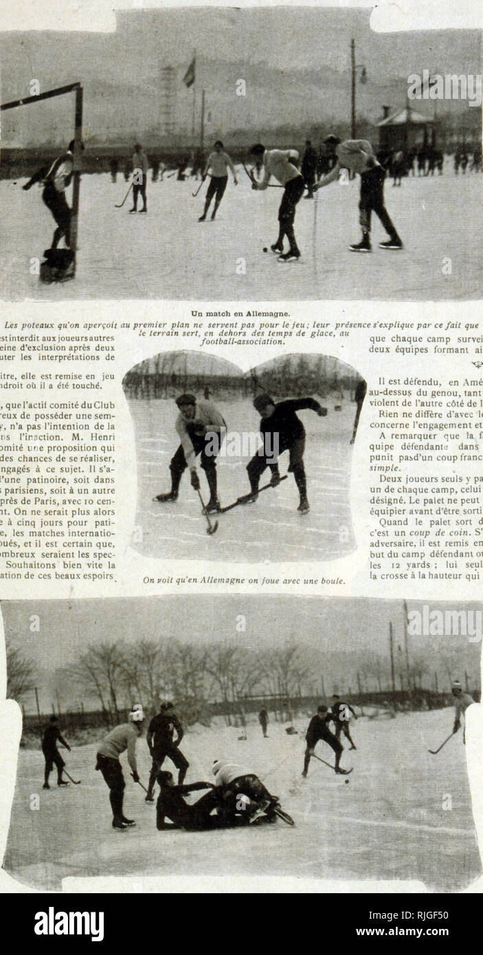 Photographs of ice hockey matches in Germany 1902 - Stock Image