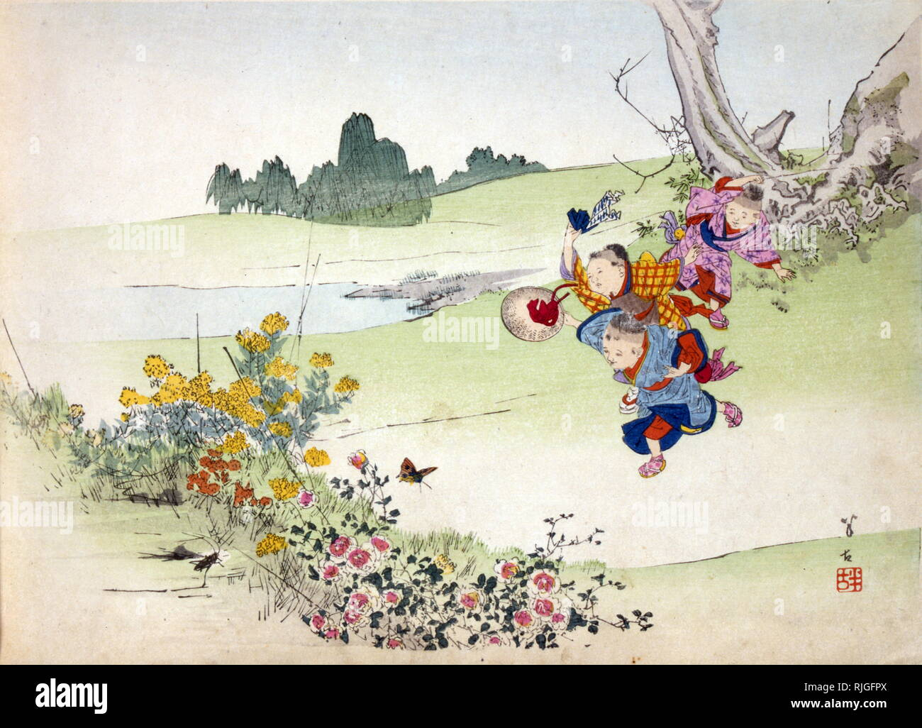 Japanese illustration of a fable by Jean-Pierre Claris de Florian (1755 - 1794), French poet and romance writer - Stock Image