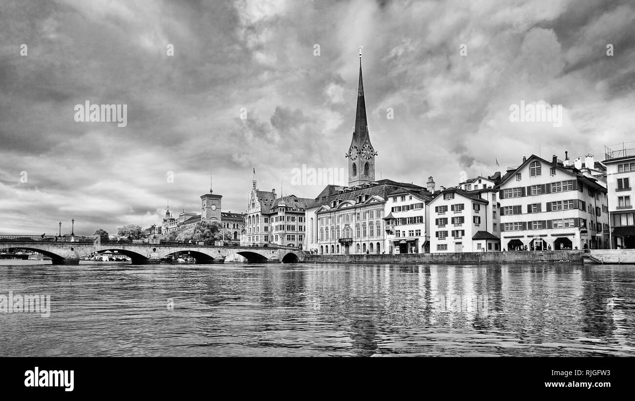 Characteristic architecture in the old city center of Zurich, Switzerland - Stock Image