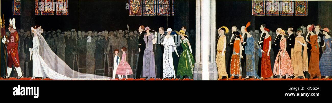 French magazine illustration depicting a wedding procession. 1923 - Stock Image