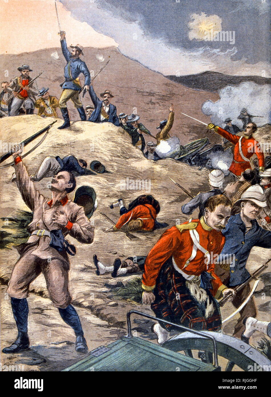 Illustration showing British soldiers defeated by Boer fighters, during the Boer War 1900 - Stock Image