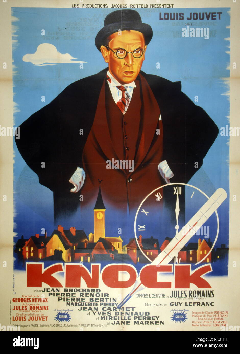 French film poster for 'Dr. Knock' (original title Knock) a French comedy film, from 1951, directed by Guy Lefranc, written by Georges Neveux, and starring by Louis Jouvet. It also features an unaccredited appearance by Louis de Funes. The movie is based on the 1923 theatre play Knock ou le Triomphe de la medicine (Knock or The Triumph of Medicine) by Jules Romains. - Stock Image
