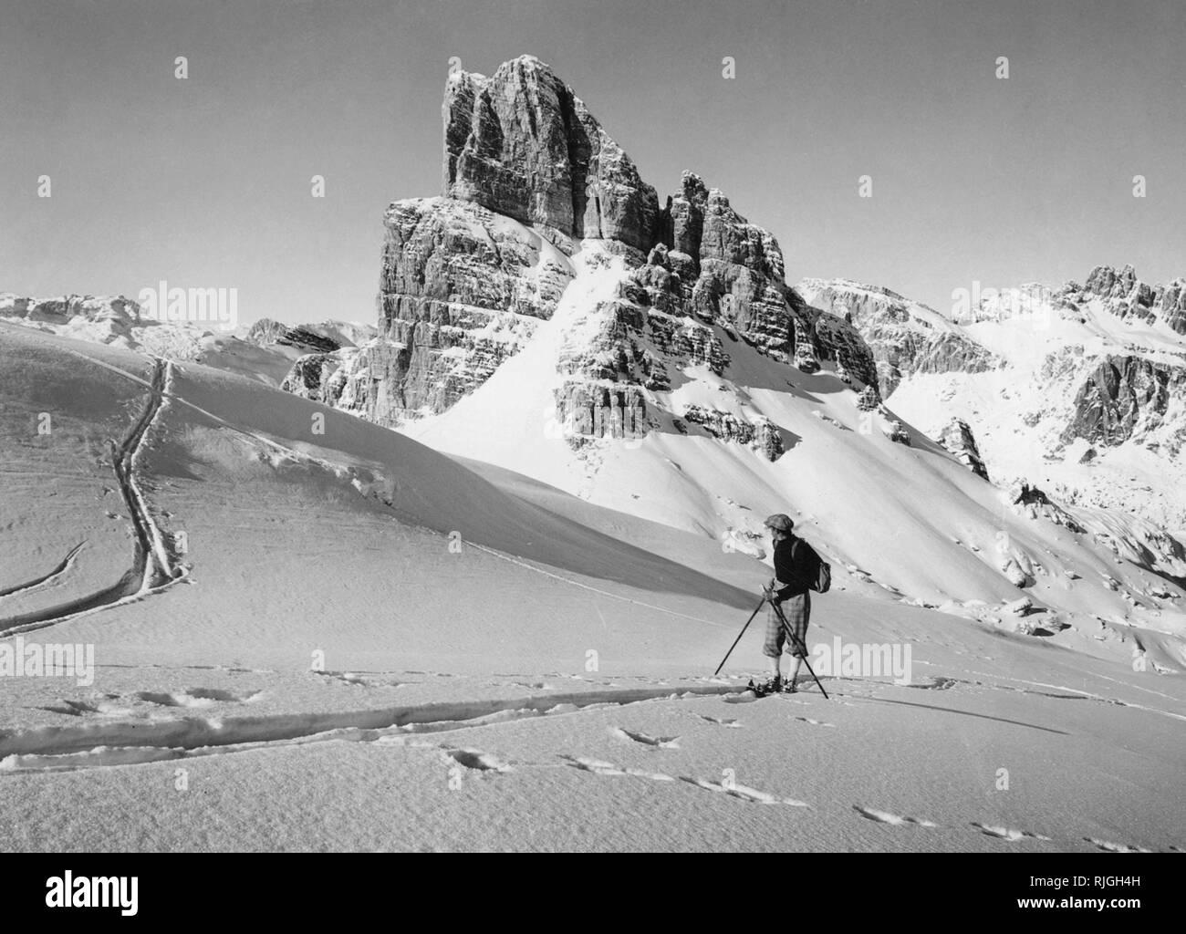 italy, dolomites, ski, 1940-1950 - Stock Image