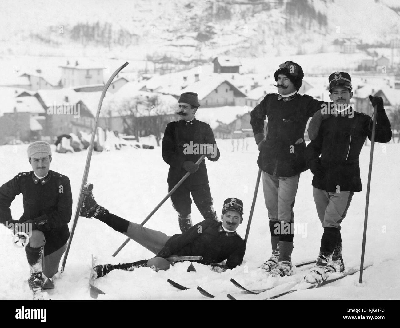 sport, soldiers on ski - Stock Image