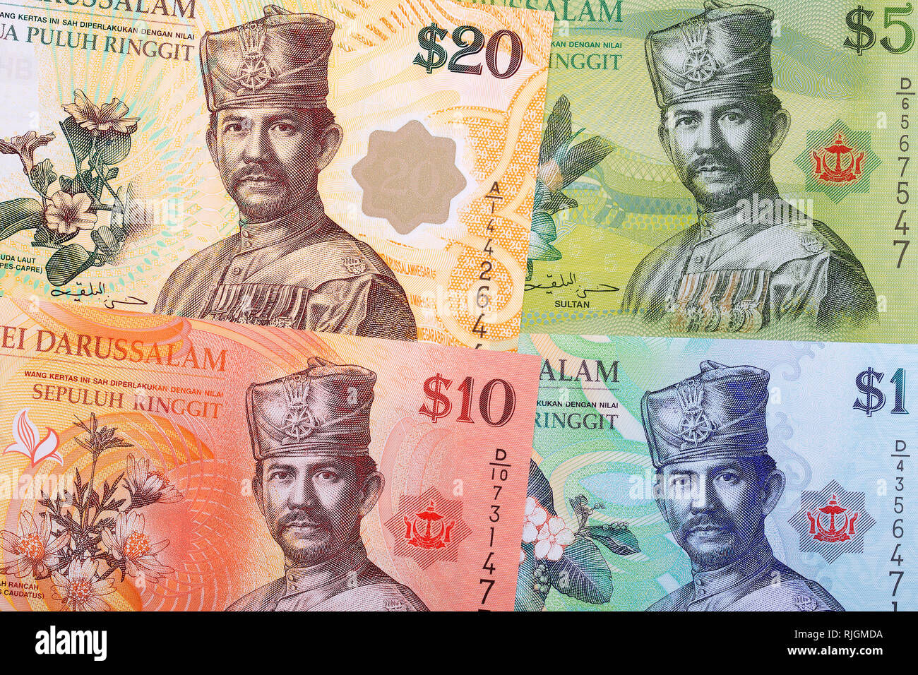 Money from Brunei a business background - Stock Image