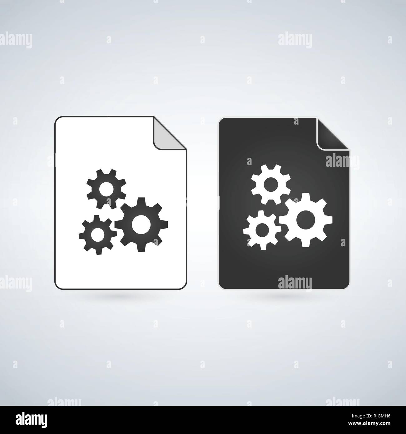 Black and white settings gears File Icon, vector illustration
