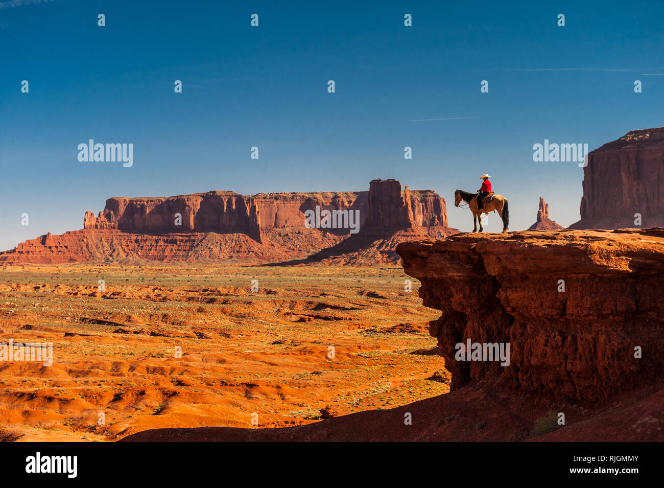 North Point Ford >> Boy On Horseback At John Ford Point Monument Valley Arizona