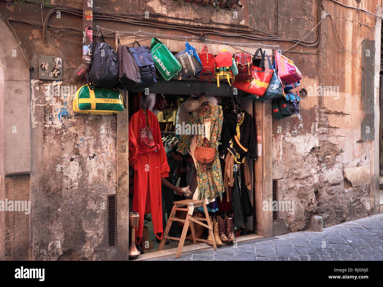 small second hand shop in a side street, Campo de fiori, Rome, Italy Stock Photo