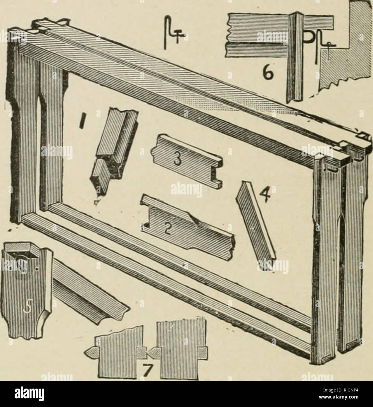 . Bees and honey; or, The management of an apiary for pleasure and profit. Bees. 40 BEE CULTURE.. Fig. 14.—Hoffman-Langstroth Brood-Frame. (See page 37.) PLAIN SECTION-BOXES AND CLEATED SEPARATORS. For years the section-box has been made with one or more scallops on each size, for the purpose of allowing the bees to enter from below, and also to pass on up to another tier of sec- tions when supers are tiered upon the hives. But lately there. Please note that these images are extracted from scanned page images that may have been digitally enhanced for readability - coloration and appearance of  - Stock Image