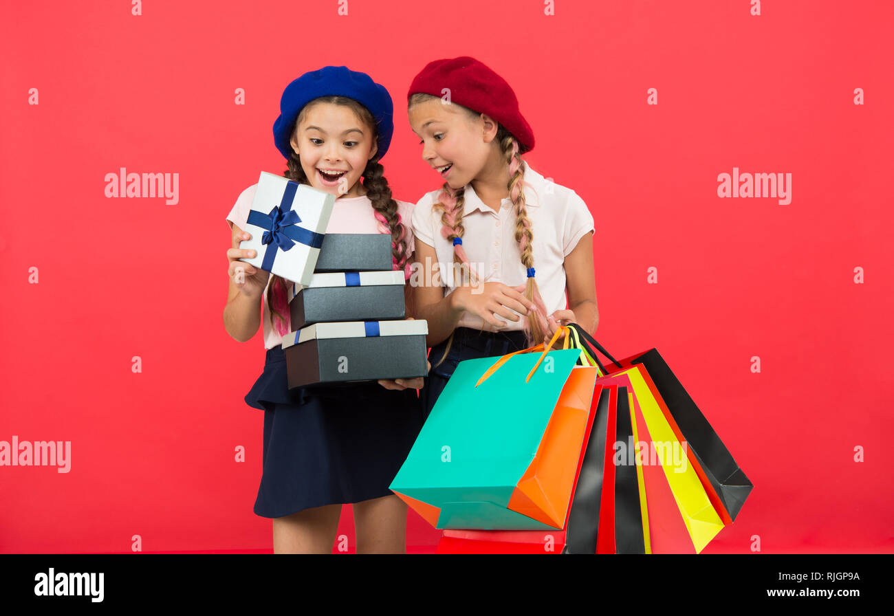 For My Dear Friend Girl Giving Gift Box To Girls Friends Celebrate Holiday Children Formal Wear With Open Now Friendship Concept