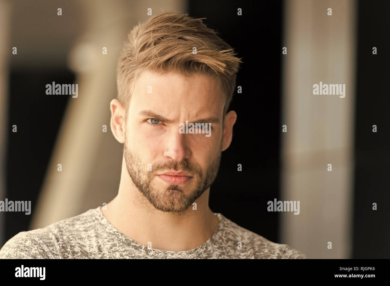 Metrosexual Concept Man Beard Unshaven Guy Looks Handsome And Cool Handsome In Style Guy Bearded Attractive Cares About Appearance Man Bristle Serious Strict Face Black Background Close Up Stock Photo Alamy