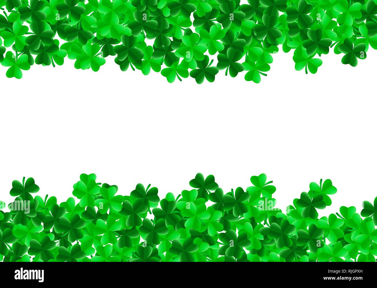 Saint Patrick Day Background With Green Bright Leaves Of