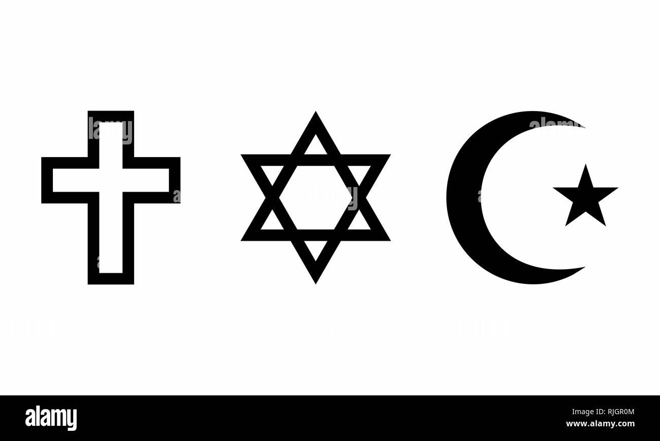 A set of religious symbols on white background - Stock Image