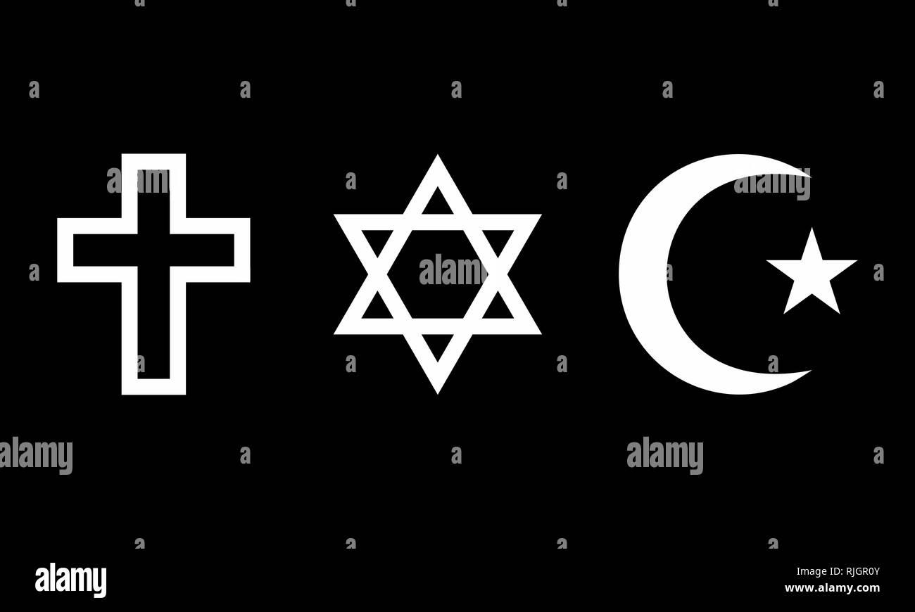 A set of religious symbols on dark background - Stock Image