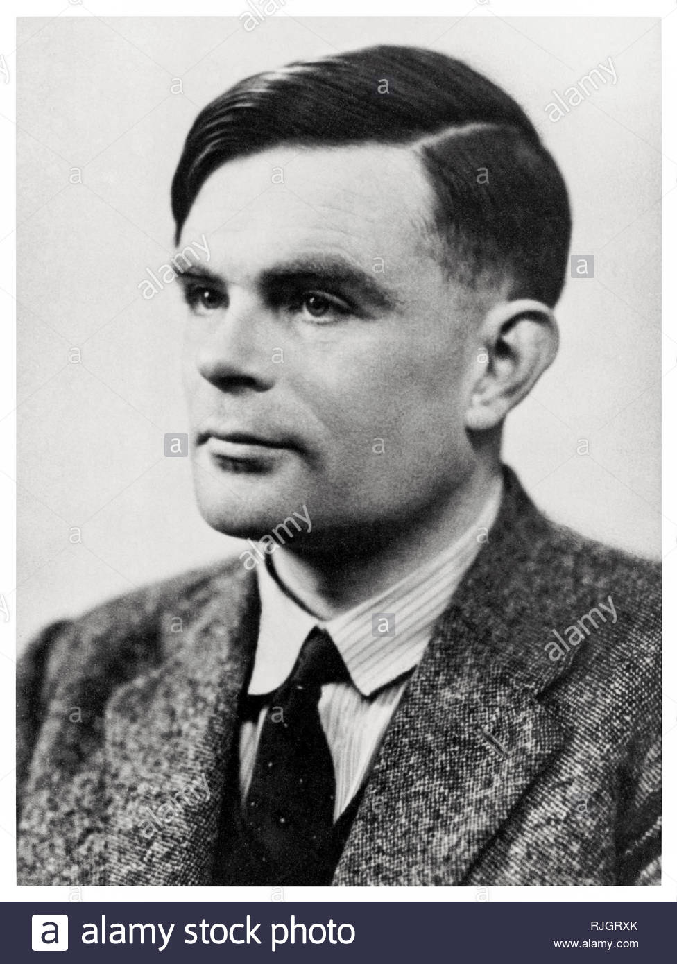 Alan Turing (1912-1954) circa 1947. British mathematician and genius, inventor of the Turing machine, best remembered for the leading role he played in codebreaking the Nazi Enigma ciphering system at Bletchley Park during World War 2. Stock Photo