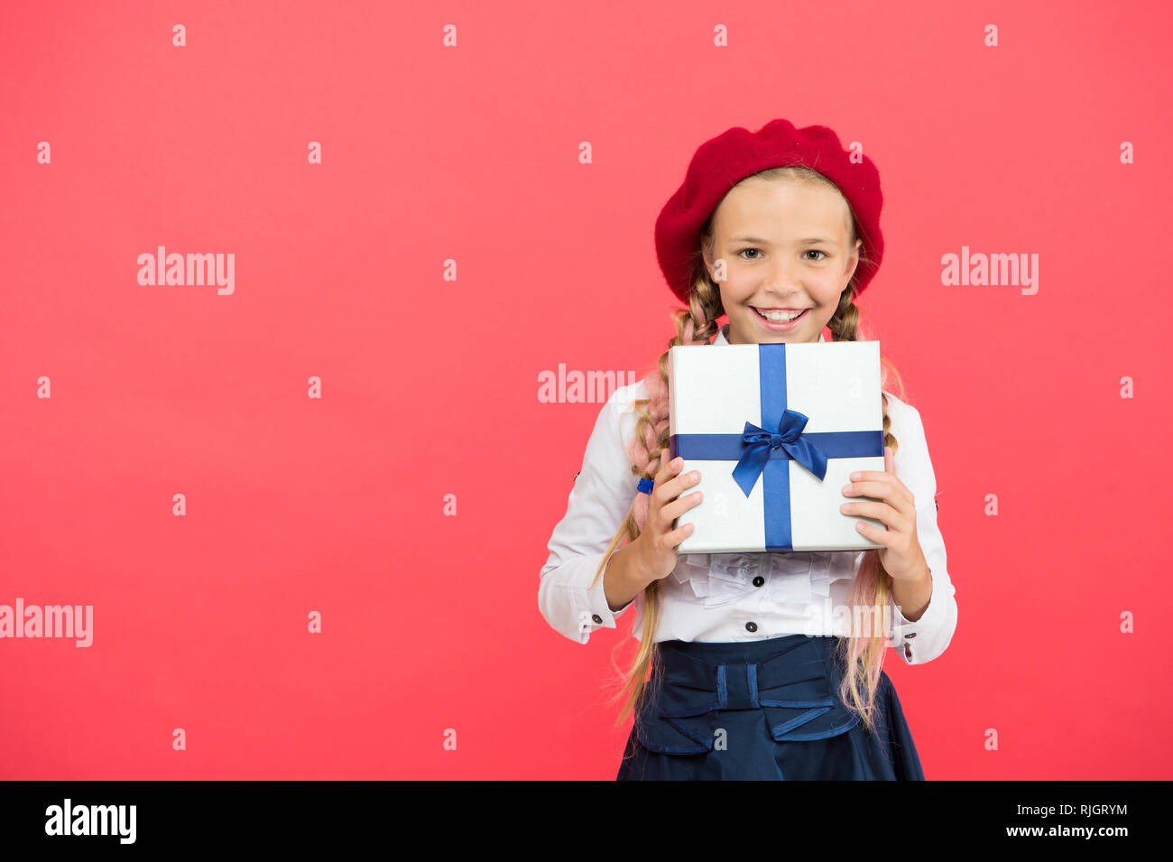 Birthday Wish List Happy Concept Girl Kid Hold Gift Box Every Dream About Such Surprise Carry Present With Ribbon