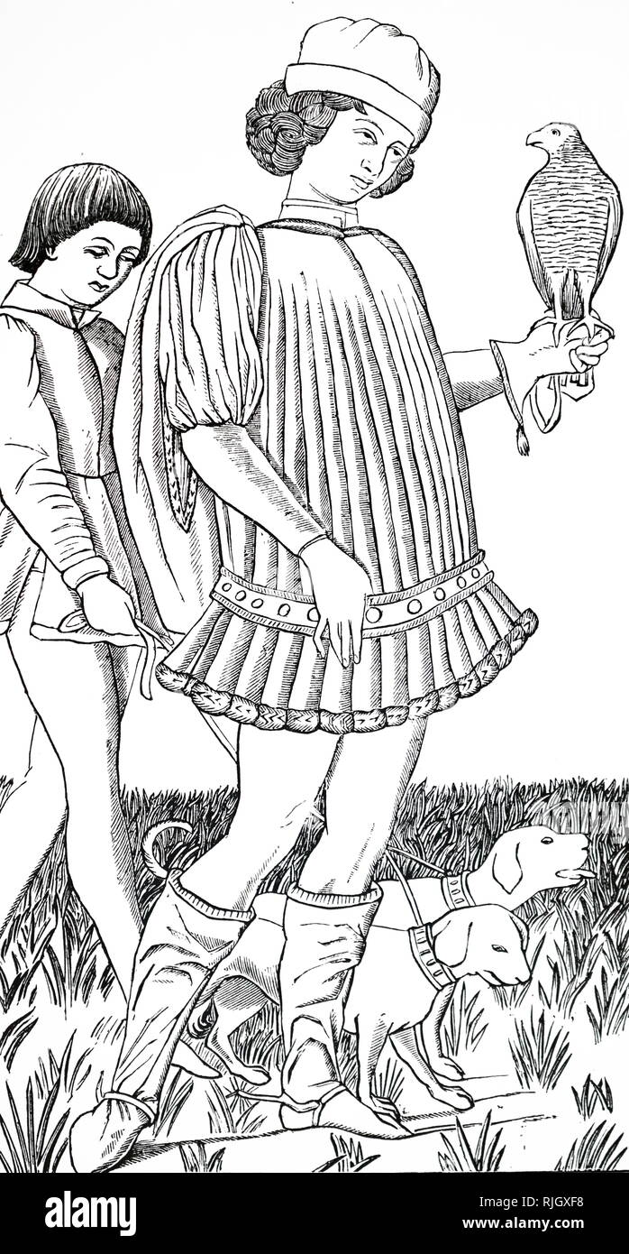 A woodcut engraving depicting an Italian nobleman hawking. Engraving after copper engraved playing card circa 1460. Dated 18th century - Stock Image