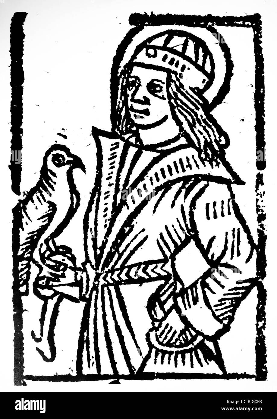 A woodcut engraving depicting a falconer: from an early 16th-century edition of the Shepherds Kalendar. Dated 18th century - Stock Image