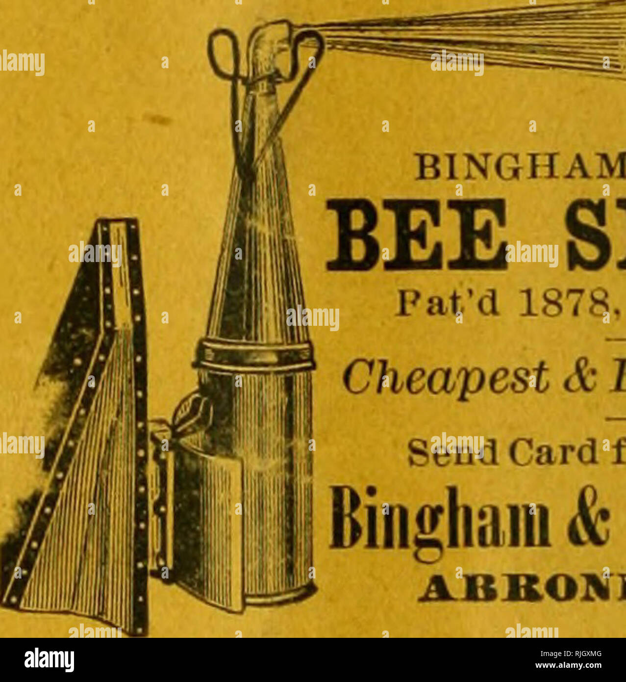 . The Bee-keepers' review. Bee culture. BINGHAM PERFECT BEE SMOKER I'at'd 1878.1882, & 1802. Cheapest & Best on Earth. Send Card for Circular to Bingham &Hetheriiigtoii ABKONIA, MICH. ^^^^ ^ Queens rank with the beet in g^g ' fhe world. I rear none ex- â I â cept the best Italians bred for â I I busintss, beauty and all good â I I (lualities. I strive to excel, and â A I have shipped to every State and â I to foreign countries, and if I have M ^ '^ dissatisfied customer, I don't r A know it. A large number of queens on hand. Breeders 4 and .5 band, f 2.00; straight 5 band, S^^.OO - Stock Image