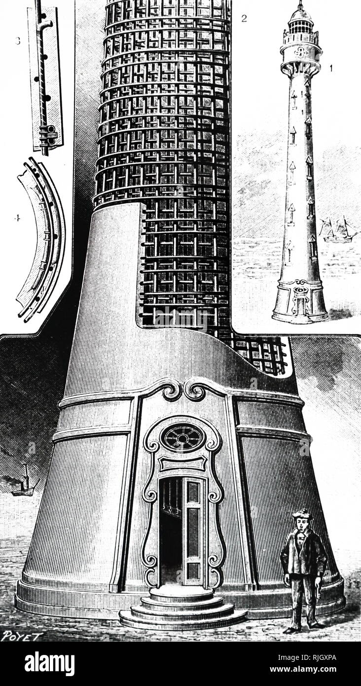 An engraving depicting a Russian lighthouse built of reinforced concrete at Nicolayev on the Black Sea. Dated 20th century - Stock Image
