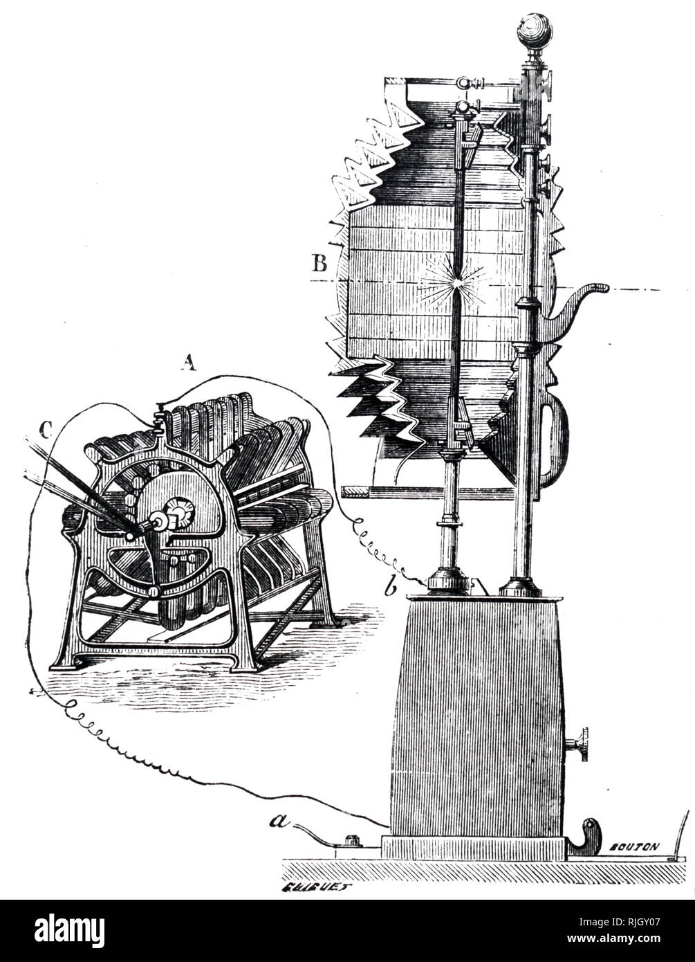 An engraving depicting the Alliance Nollet generator being used to power a carbon arc lamp. Used in lighthouses at La Heve. Dated 19th century - Stock Image