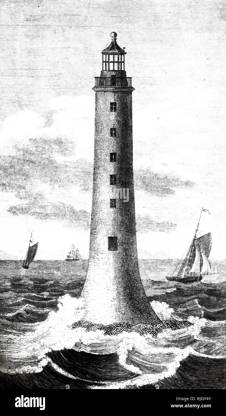 An engraving depicting the Bell Rock Lighthouse, located off the coast of Angus, Scotland, designed by Robert Stevenson. Robert Stevenson (1772-1850) a Scottish civil engineer and famed designer and builder of lighthouses. Dated 19th century - Stock Image