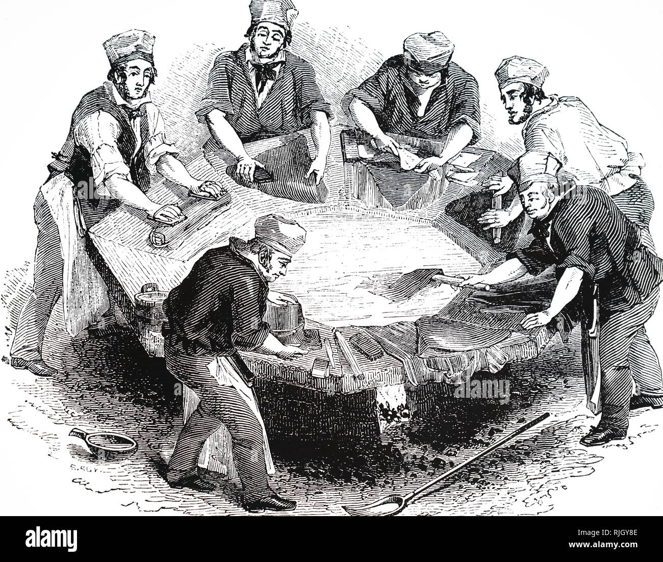 An engraving depicting the manufacturing of beaver hats: 'felting' the body of the hats in the 'kettle'. Mercury was used during the manufacture, and many hatters suffered from the uncontrollable shaking typical of mercury poisoning. Dated 19th century - Stock Image