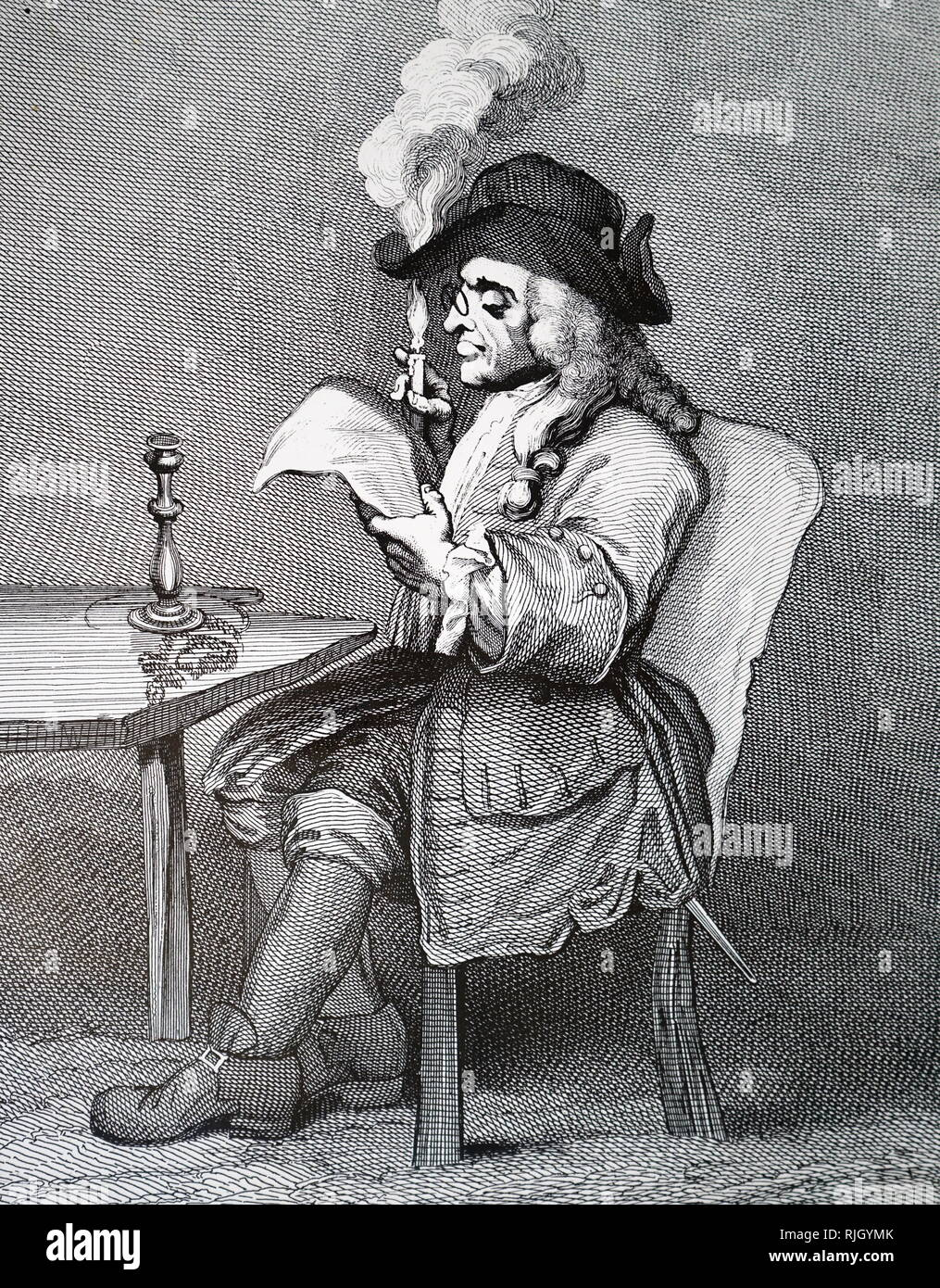 An engraving titled 'The Politician' by William Hogarth (1697-1764) English painter, printmaker, pictorial satirist, social critic, and editorial cartoonist who has been credited with pioneering western sequential art. Dated 18th century. - Stock Image