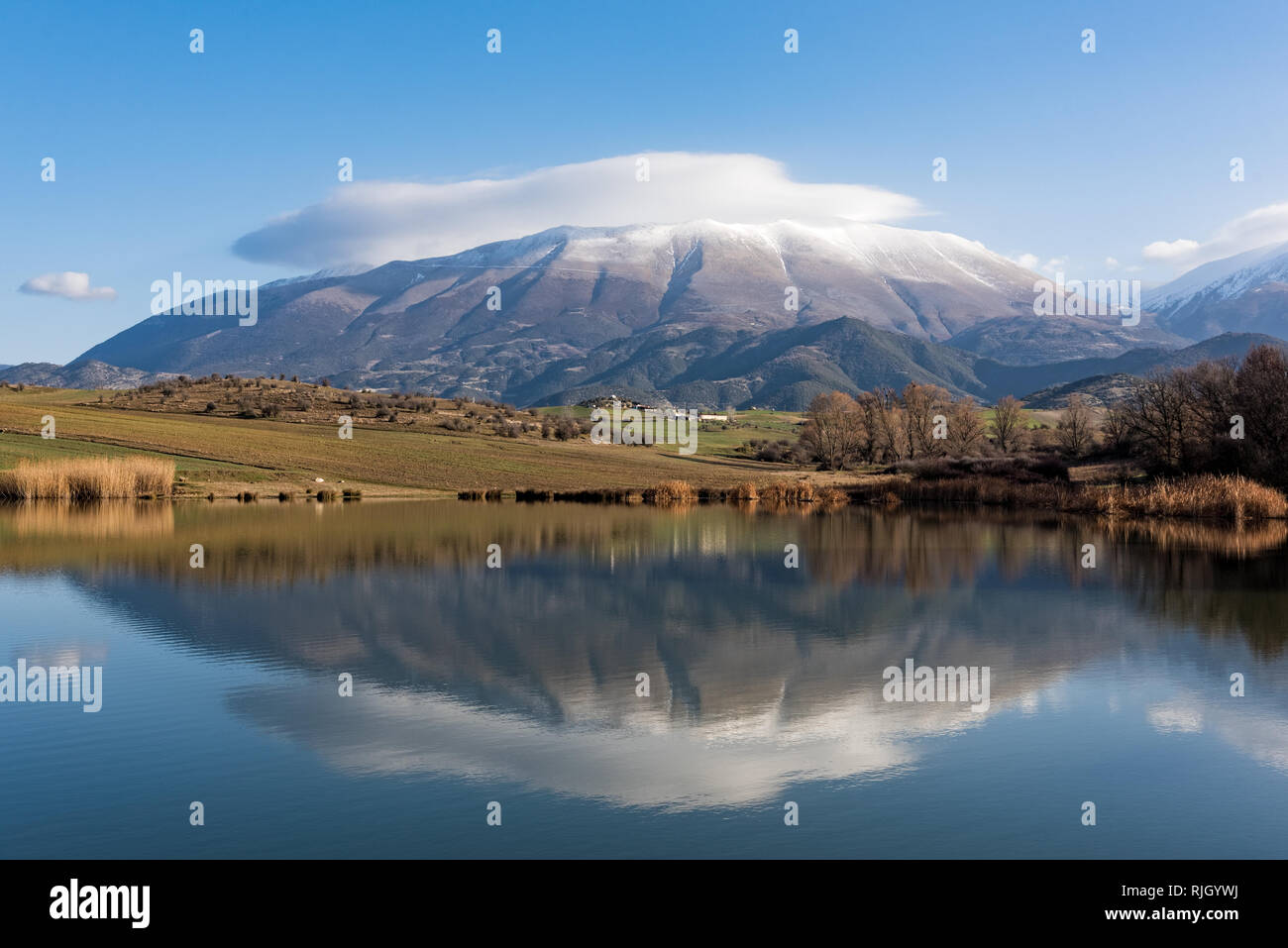 Distant view of Mount Olympus, the highest mountain of Greece and  home of the ancient Greek gods - Stock Image