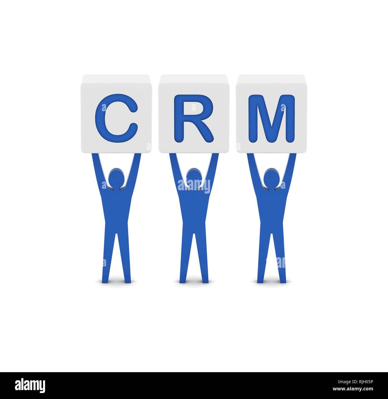 Men holding the word CRM. Customer Relationship Management. Concept 3D illustration. - Stock Image