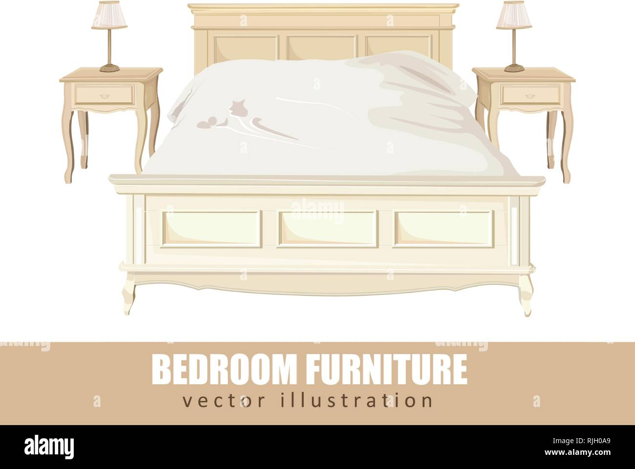 Classic bedroom furniture Vector watercolor. Interior design ...
