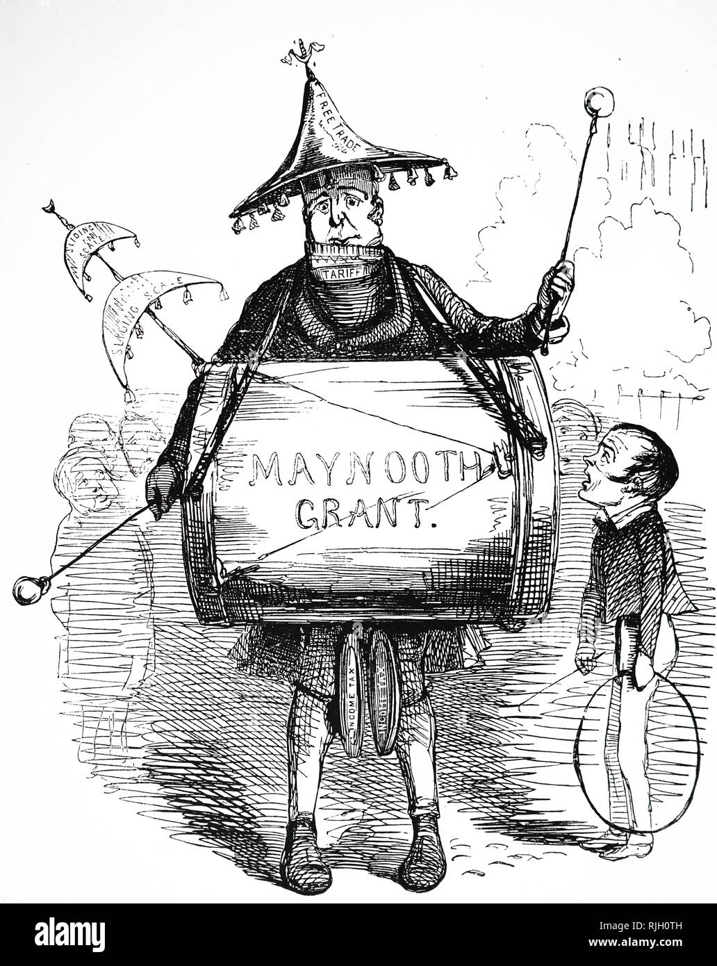 A cartoon commenting on the Maynooth College grant. Maynooth College, Ireland, founded in 1795 by Parliament to educated students for the Roman Catholic priesthood. In June 1845 it received a parliamentary award of £26,000 annually and a one-off payment of £30,000 for buildings. Sir Robert Peel, the Prime Minister, is the one-man-band, and Lord John Russell grapes up at him in wonder. Dated 19th century - Stock Image
