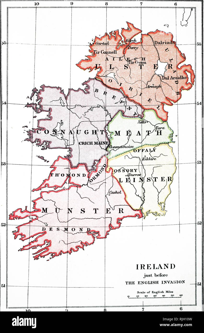 An engraving depicting a map of Ireland before the Flight of the Earls (1606) and the English Conquest (1588-1610). Dated 19th century - Stock Image