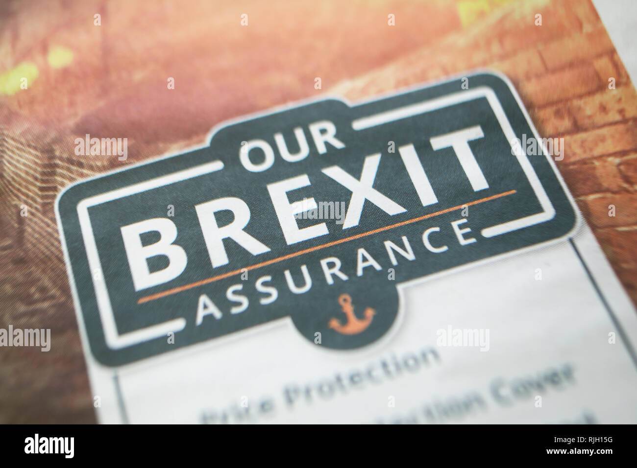 Brexit Assurance for travel companies trying to sell holidays after Brexit, in the UK - Stock Image