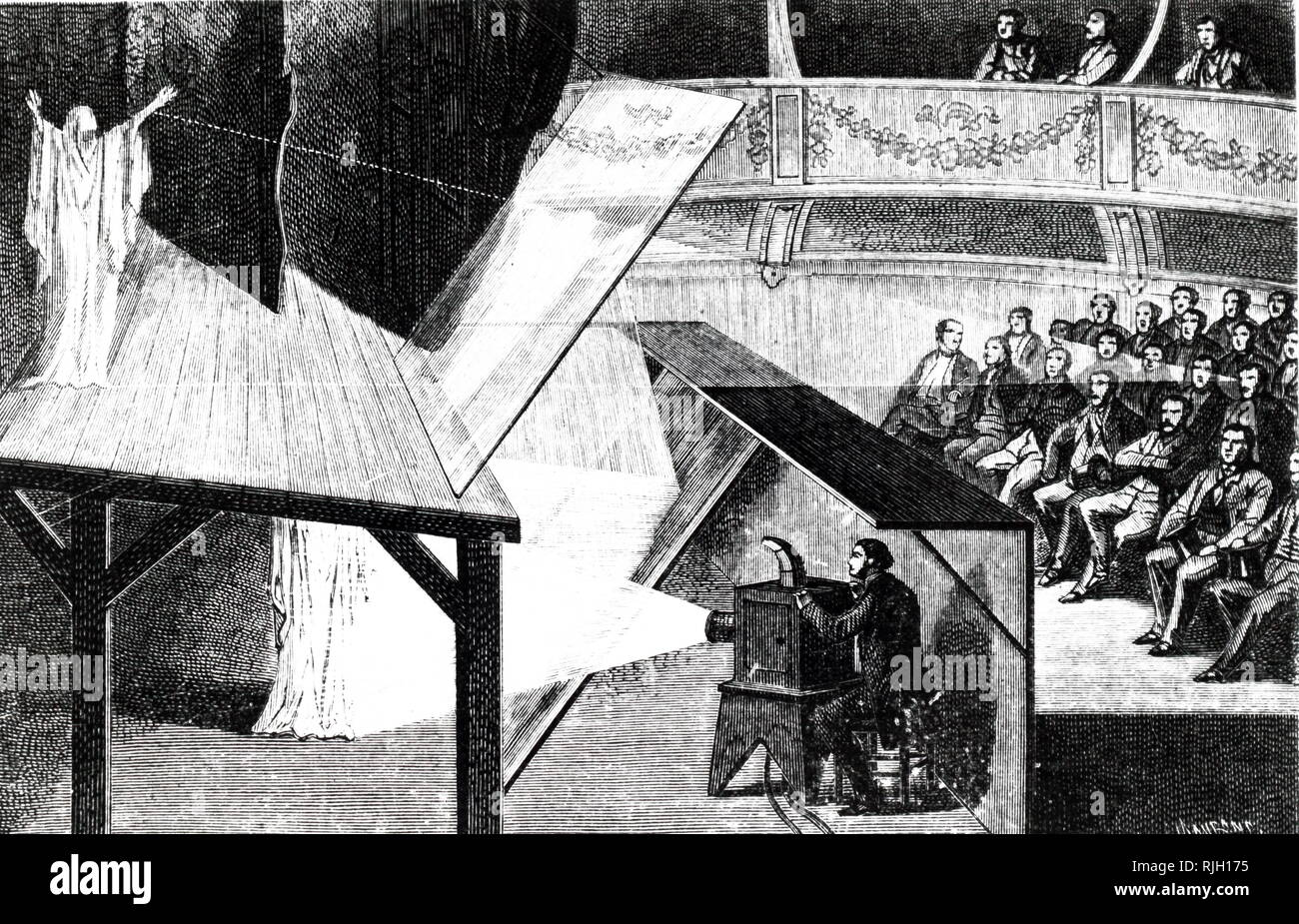 An engraving depicting the method known as 'Pepper's Ghost'. An image of a 'ghost' is projected onto the stage with the use of mirrors and reflected light. To the audience, the 'ghost' appears to be on the stage. Dated 19th century - Stock Image