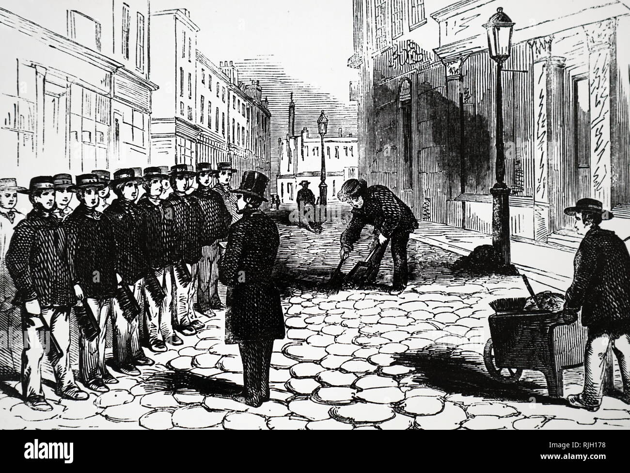 An engraving depicting London street orderlies being inspected before setting off on their rounds. Dated 19th century - Stock Image