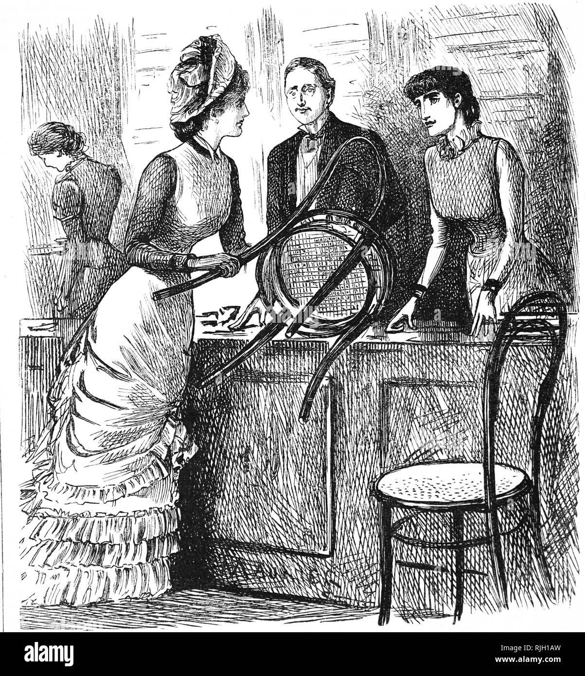 A cartoon commenting on the working conditions of shop assistants. Illustrated by George du Maurier (1834-1896) a Franco-British cartoonist and author. Dated 19th century - Stock Image