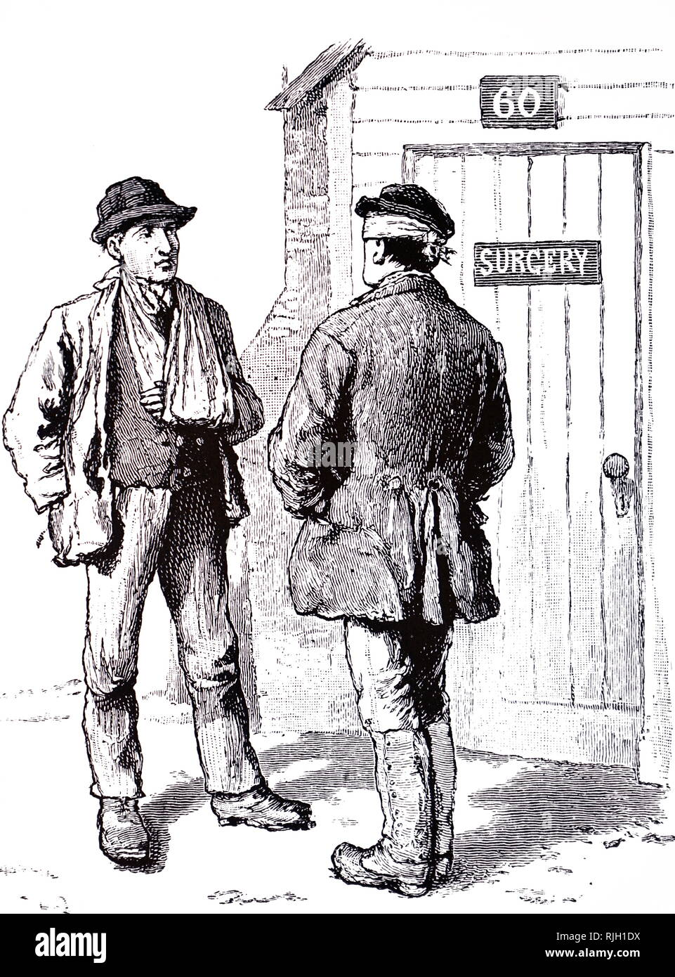 An engraving depicting the victims of minor injuries outside the site surgery during the construction of the docks at Tilbury Fort. Dated 19th century - Stock Image